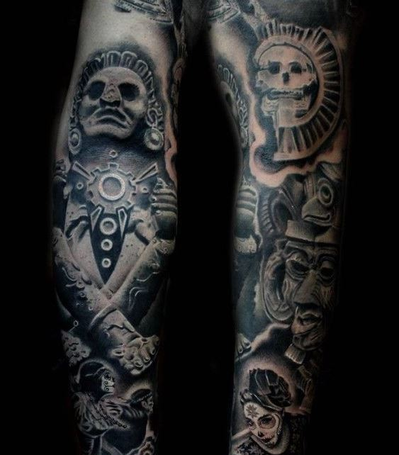 Gorgeous full sleeve of aztec culture by Luis Fernando Puedmag