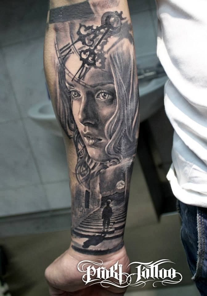 Gorgeous lifelike colored forearm tattoo of woman face with clock
