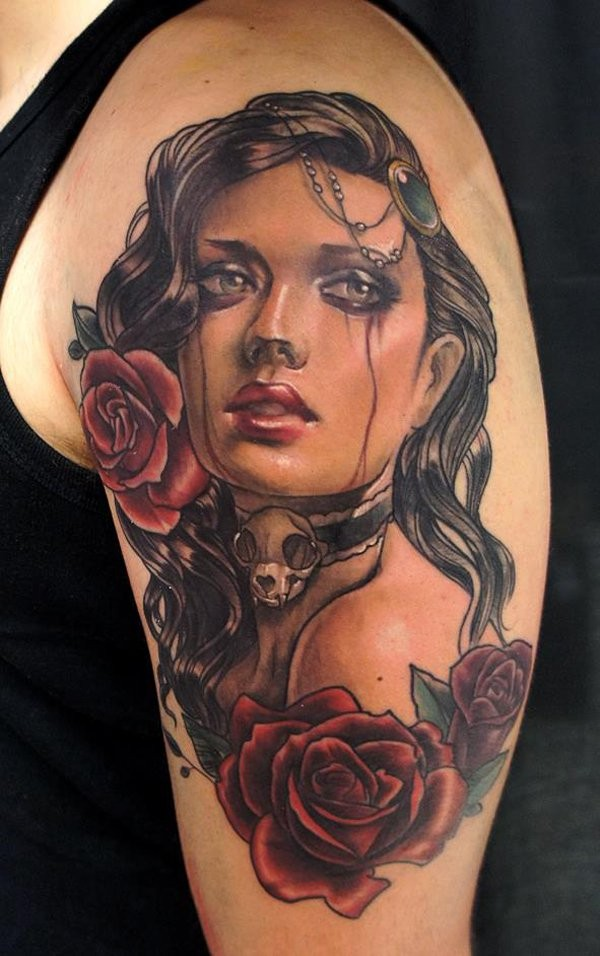 Gorgeous looking detailed and colored shoulder tattoo of crying woman portrait with roses