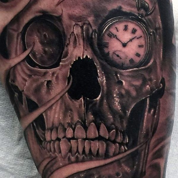 Gorgeous painted and designed realistic looking black ink skull with clock instead of eye tattoo