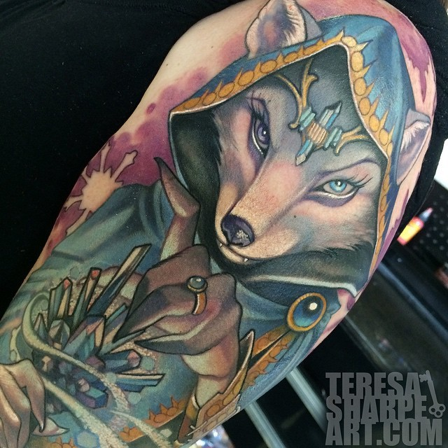 Gorgeous painted colored fantasy fox shaped witch tattoo on shoulder