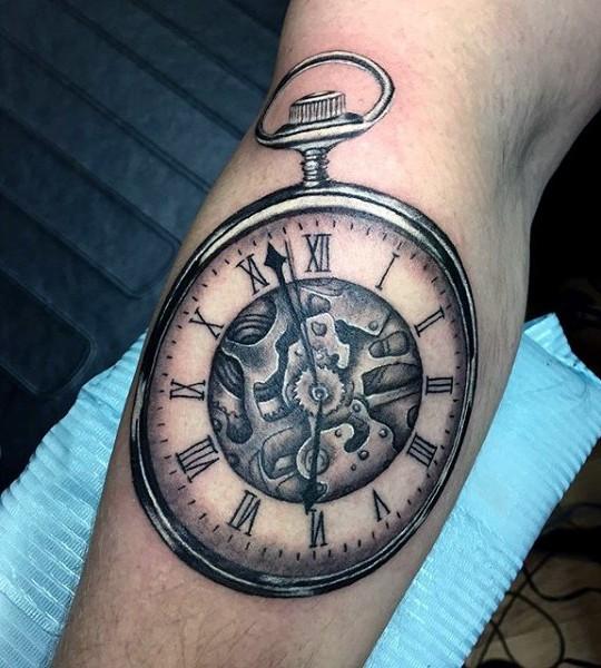 Tatuaje En El Brazo Reloj Mecánico Antiguo Hermoso Tattooimagesbiz
