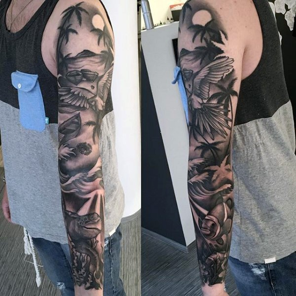 Gorgeous painted massive black and white tropical island with various animals tattoo on sleeve