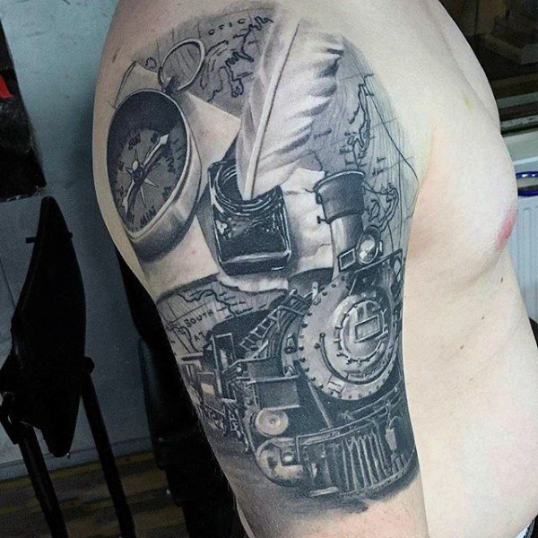 Gorgeous painted very realistic old train half sleeve zone tattoo with map and compass
