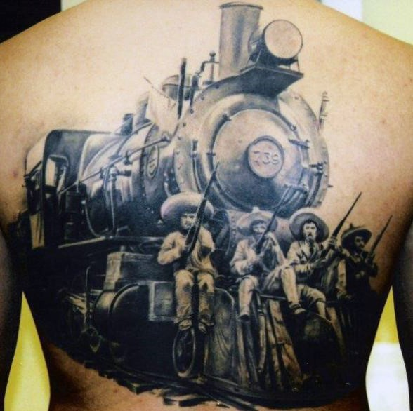 Gorgeous realistic photo like western old train with cowboys tattoo on whole back
