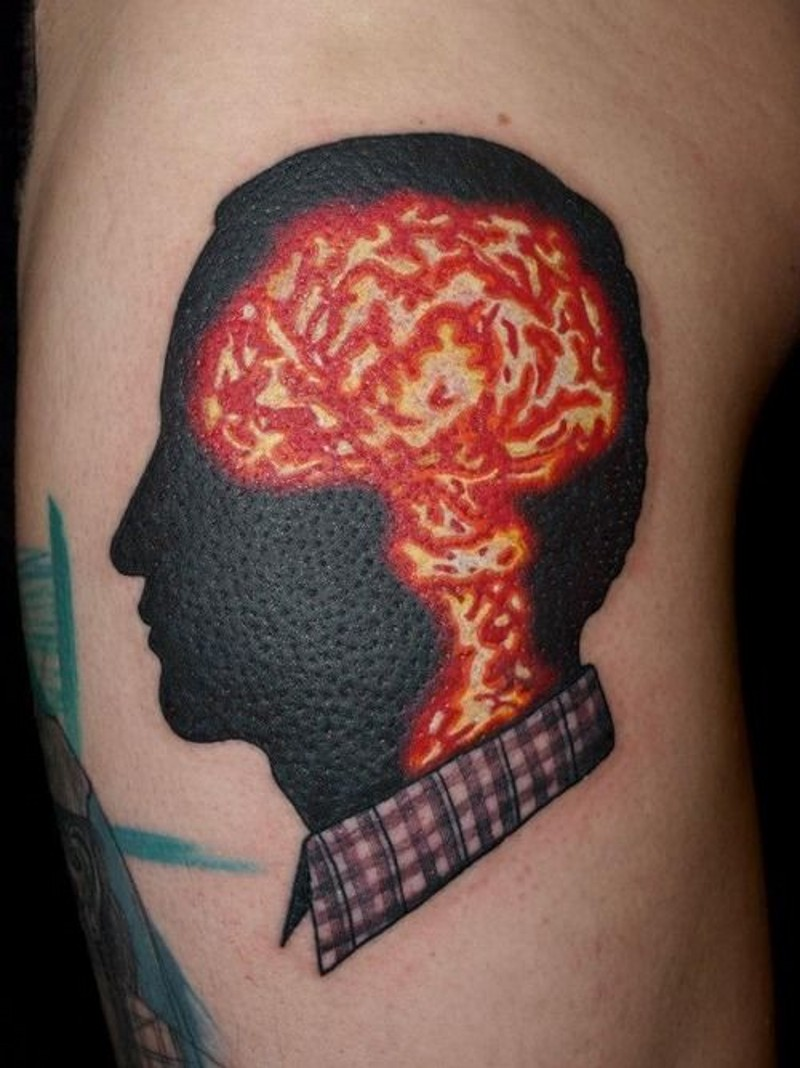 Gorgeous style painted big colored portrait tattoo on shoulder