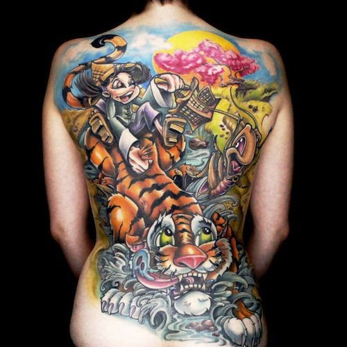Gorgeous very beautiful colored cartoon style massive tattoo on whole back with various animals and little boy