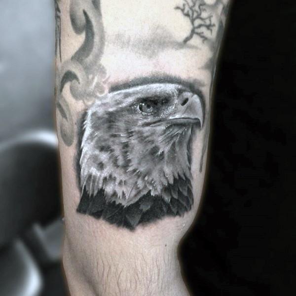 eccezionale molto dettagliato nero e bianco testa di aquila tatuaggio su braccio