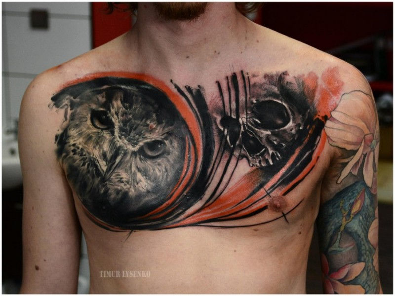 Gorgeous very detailed black and white owl tattoo on chest combined with human skull