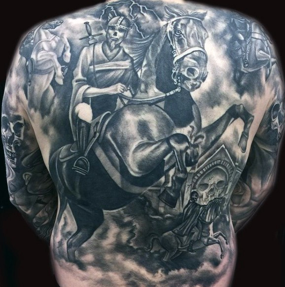Gorgeous very detailed fantasy horse riders tattoo on whole back