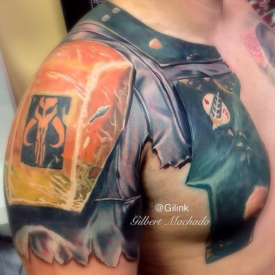 Gorgeous very detailed shoulder and chest tattoo of fantasy armor