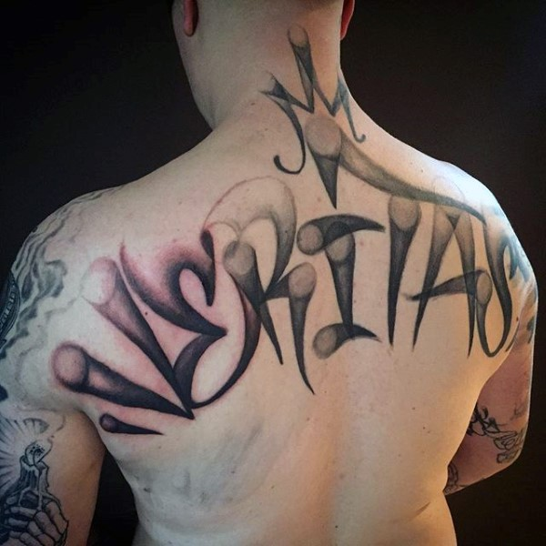 Graffiti style colored upper back tattoo of lettering