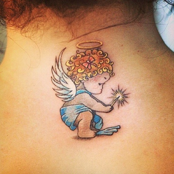 Graphic small angel tattoo
