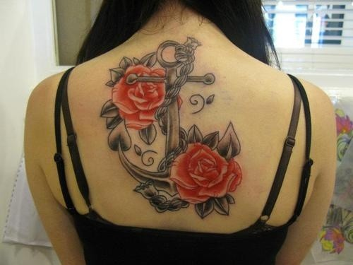 Gray ink anchor with red roses tattoo on back for girls
