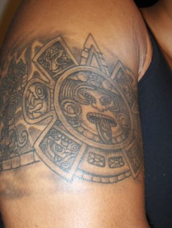 Gray ink god sun aztec armband tattoo