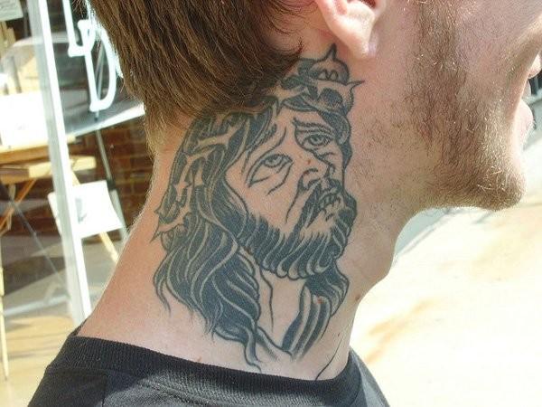 Gray ink old style religious Jesus Christ portrait weird design neck tattoo