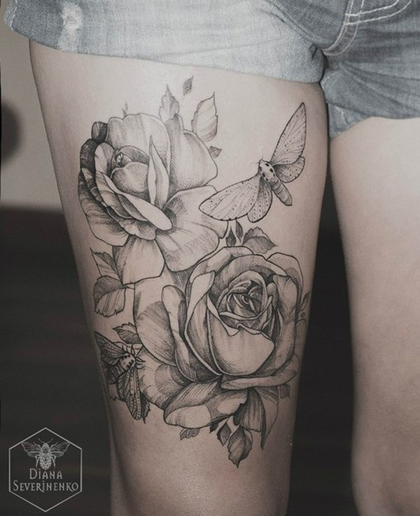 Gray ink roses and moths tattoo on thigh for women by diana severinenko