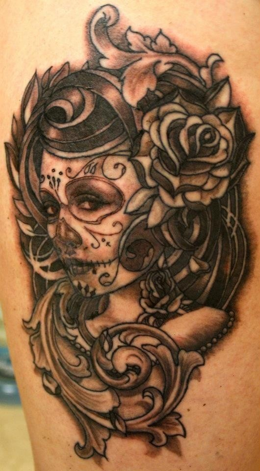 Gray ink santa muerte with patterns tattoo