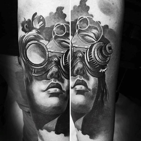 Gray washed colored forearm tattoo of woman portrait in interesting mask