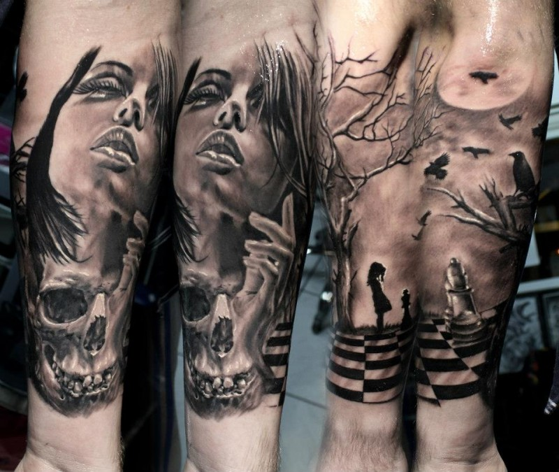Gray washed style arm tattoo of woman face with skull and chess
