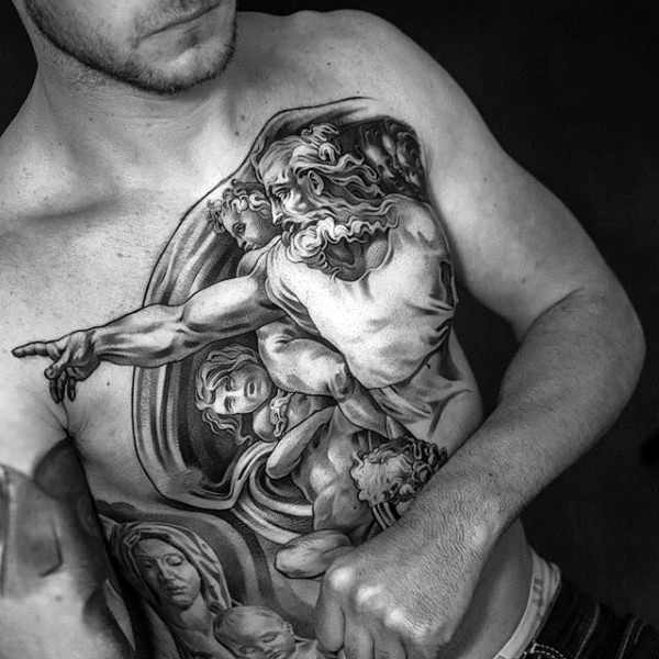 Gray washed style big ancient statues tattoo on chest and belly