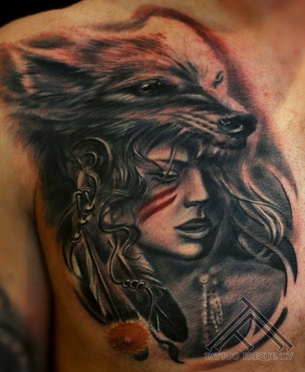 Gray washed style colored chest tattoo of woman with wolf helmet