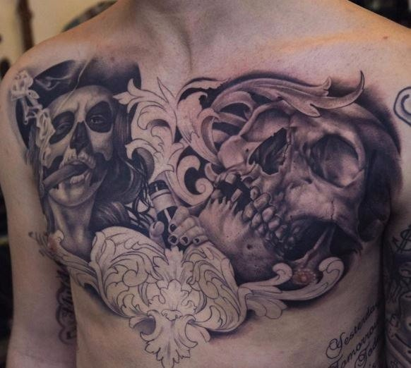 Gray washed style colored chest tattoo of human skull with smoking monster