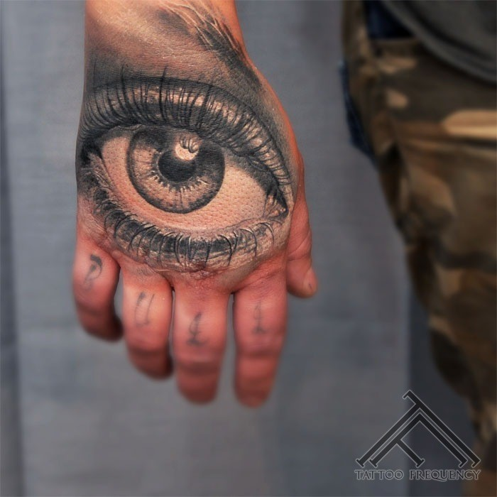 Gray washed style colored human eye tattoo on hand
