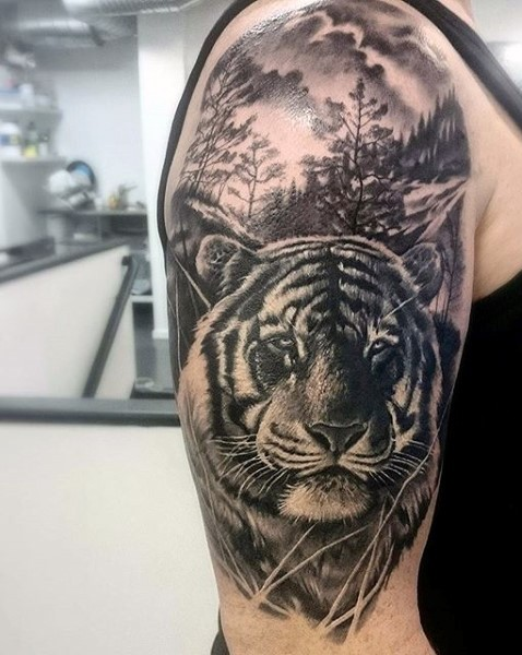 Gray washed style colored shoulder tattoo of tiger and forest