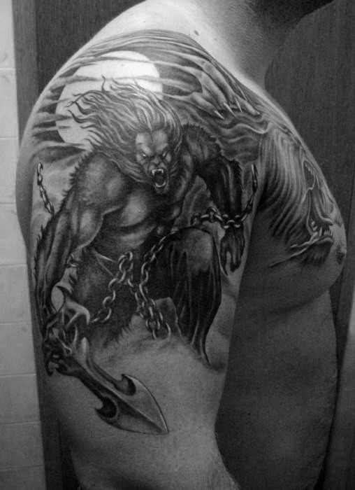 Gray washed style colored shoulder tattoo of werewolf warrior with chained sword