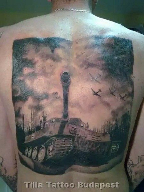 Gray washed style colored whole back tattoo of WW2 Tiger tank and planes