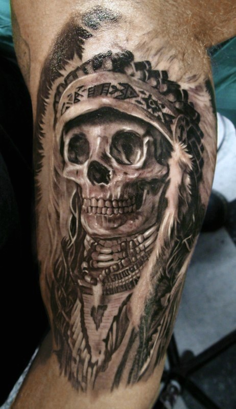 Gray washed style detailed biceps tattoo of Indian skeleton