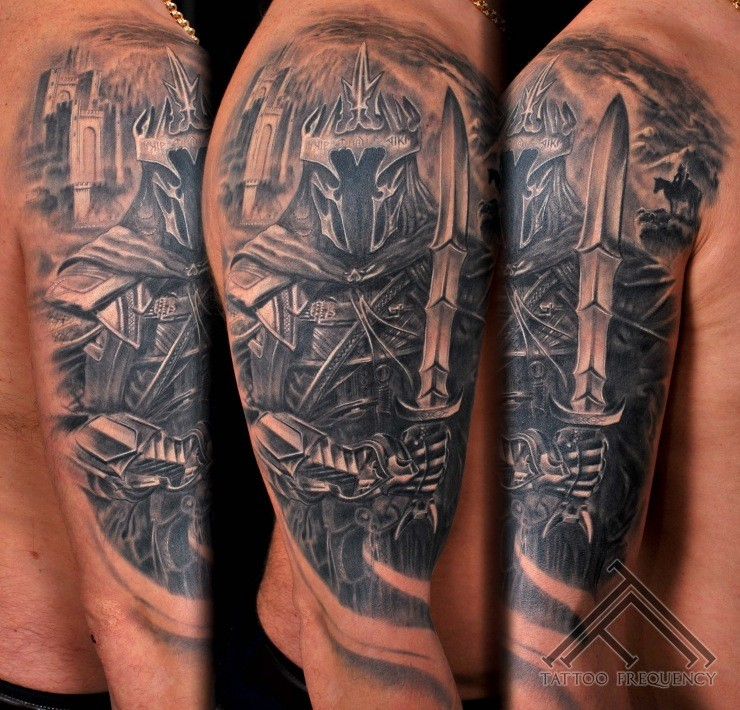 Gray washed style detailed Lord of the Rings knight tattoo on shoulder