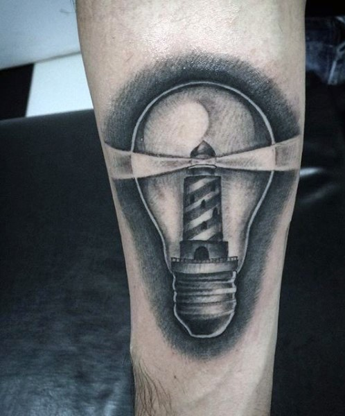 Gray washed style forearm tattoo of bulb stylized with lighthouse