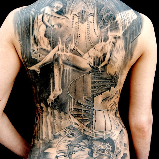 Gray washed style very detailed whole back tattoo of mystical woman with stairs and clock