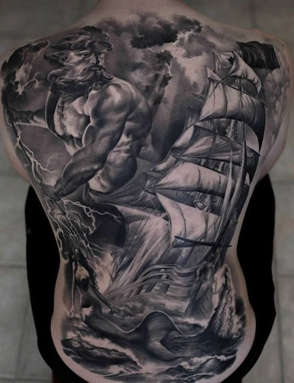 Gray washed style very detailed whole back tattoo of sailing ship with ocean God