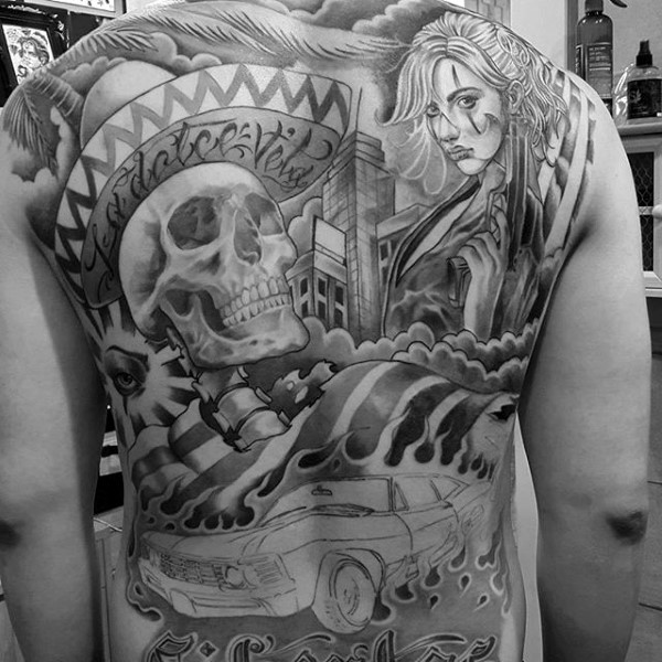 Gray washes style large whole back tattoo of Mexican human skeleton with hat and woman