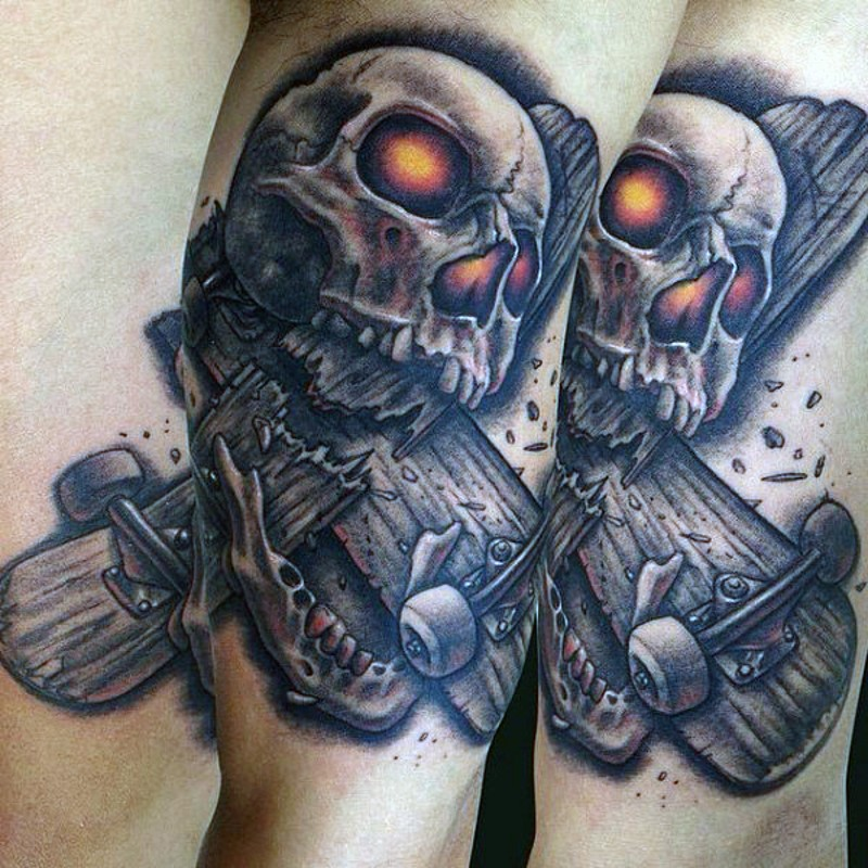 Great 3D like colored demonic skull with broken skate board tattoo on arm