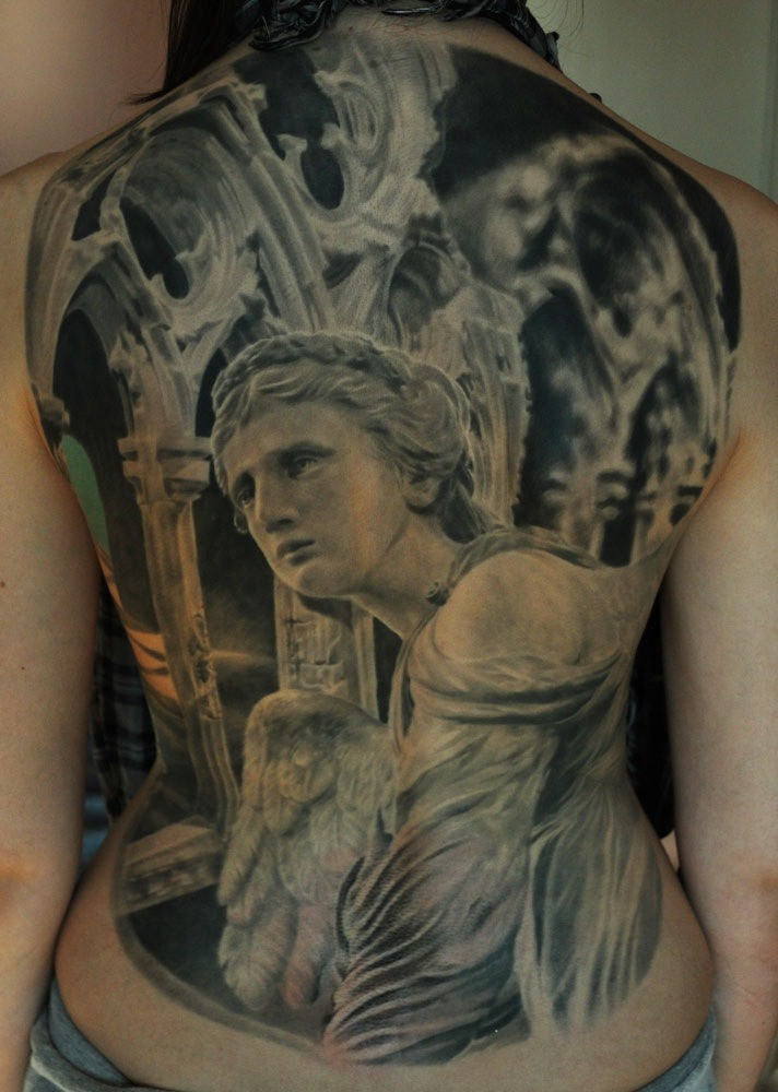 Great angel statue tattoo on back