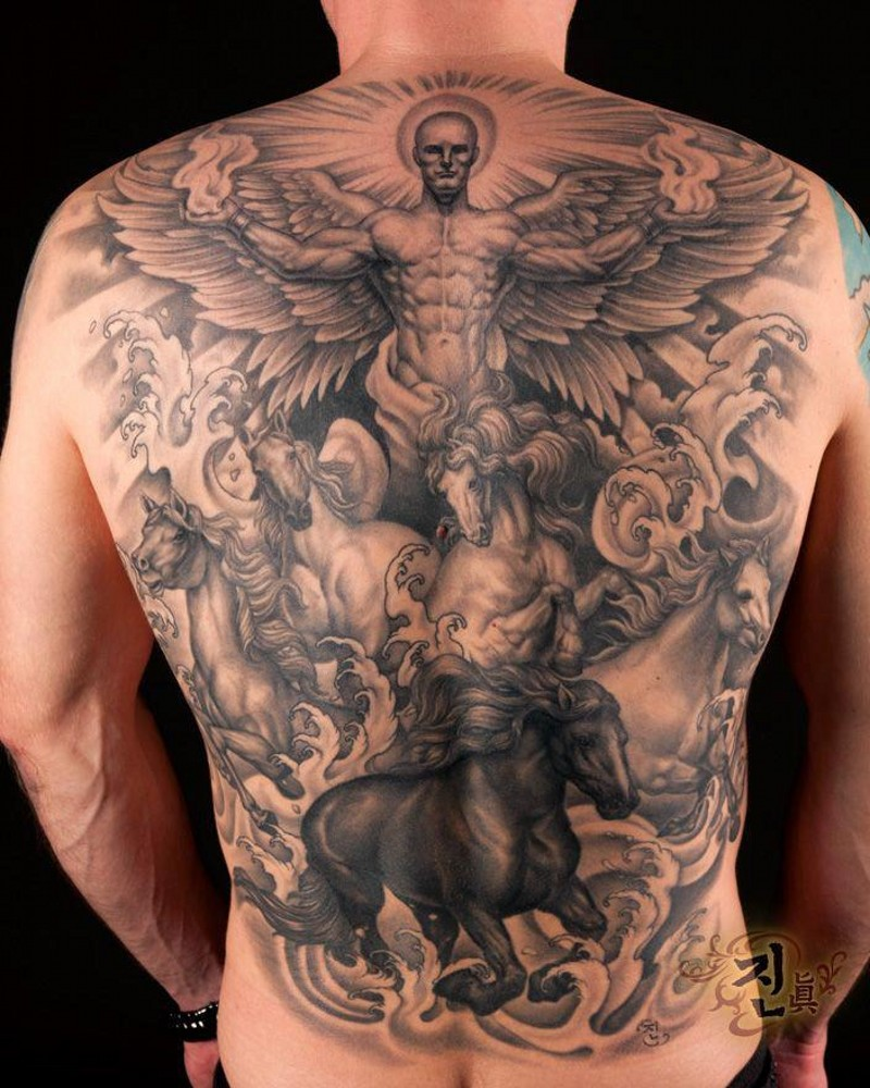 Great angel with horses tattoo on whole back