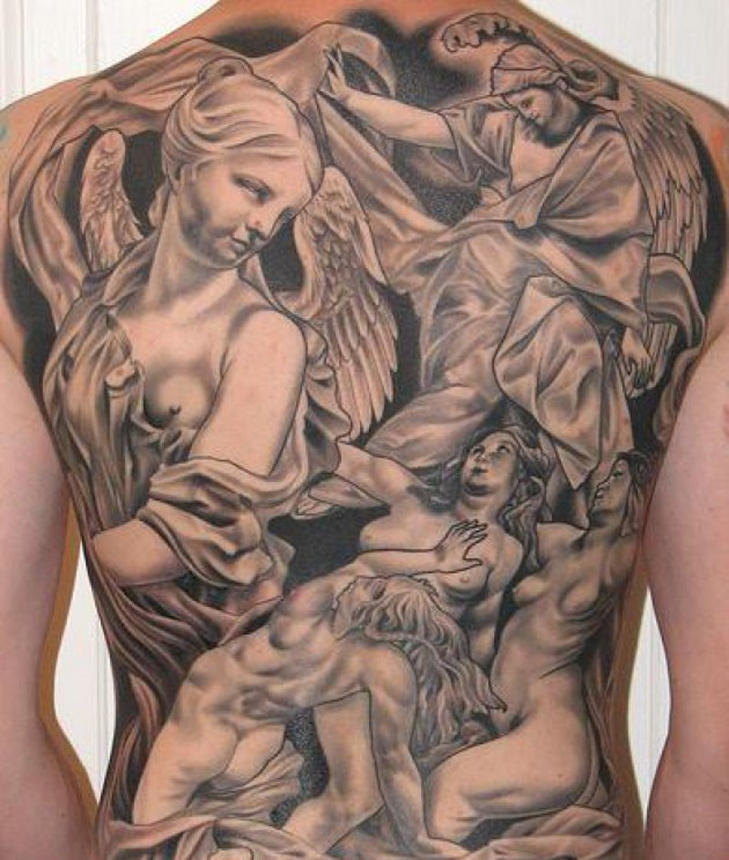 Great angels tattoo on whole back