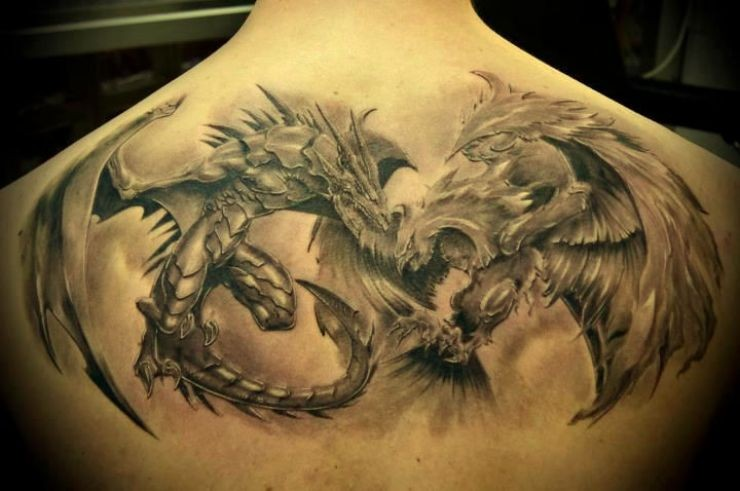 Great battle giant eagle and dragon tattoo on back