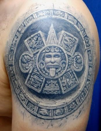 Great beautiful stone god sun in style culture of aztecs tattoo on shoulder