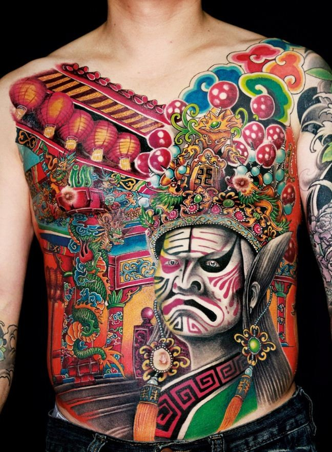 Great beautiful tattoo on whole back in chinese style
