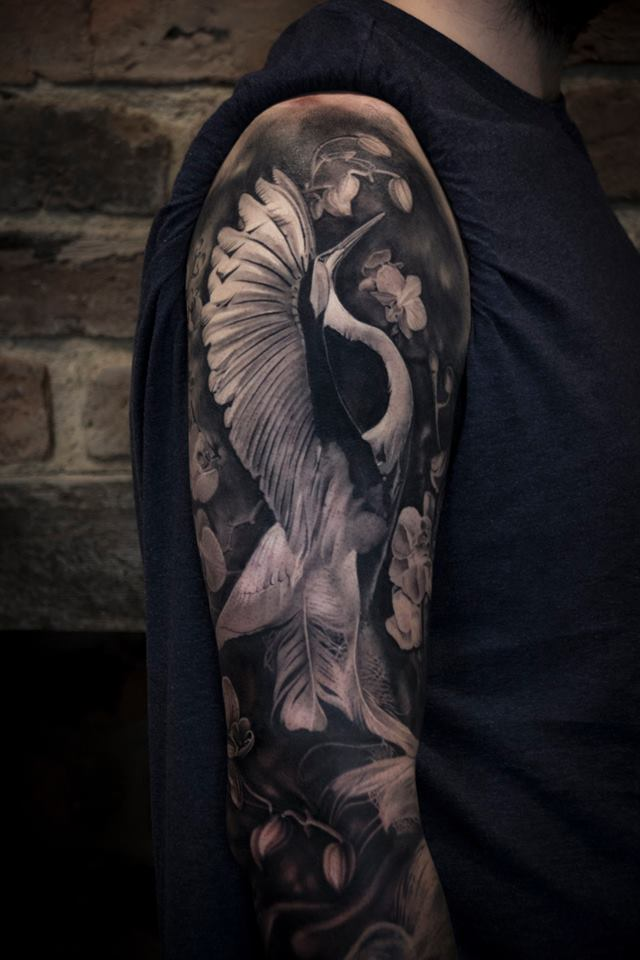 Great black and white heron tattoo on shoulder