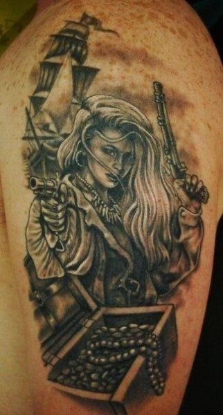 Great black and white realistic beautiful pirate woman with treasure tattoo on shoulder