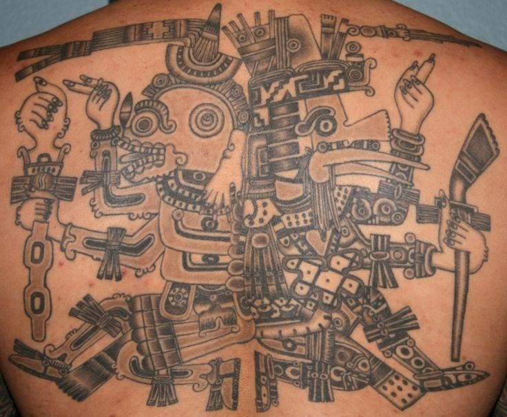 Great black gray aztec deity of prehispanic period tattoo on back