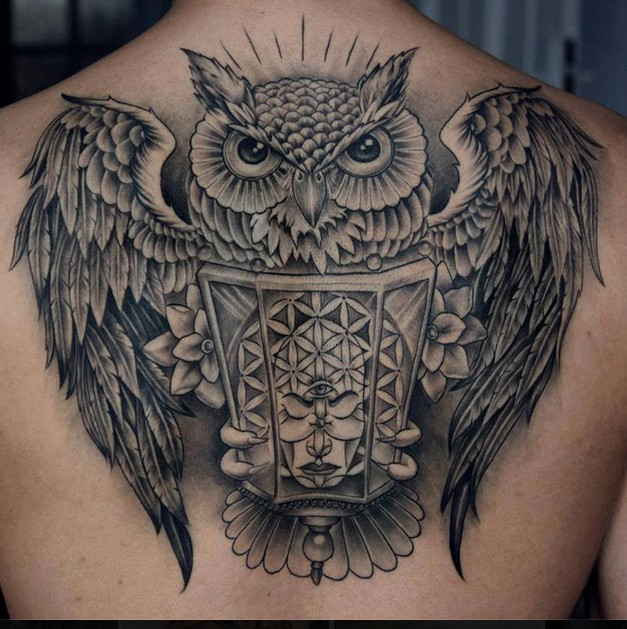 great black owl with lamp tattoo on back. Black Bedroom Furniture Sets. Home Design Ideas
