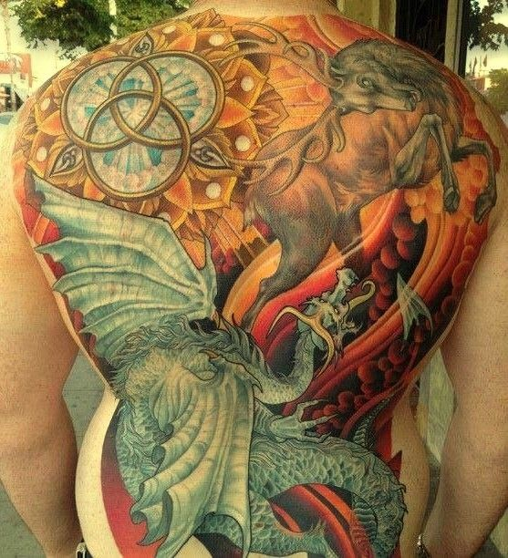 Great colorful dragon and deer tattoo on whole back