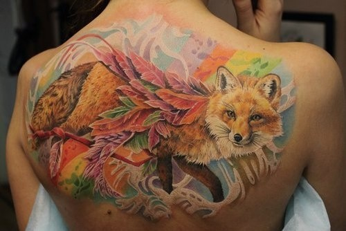 Great colorful fox tattoo on back